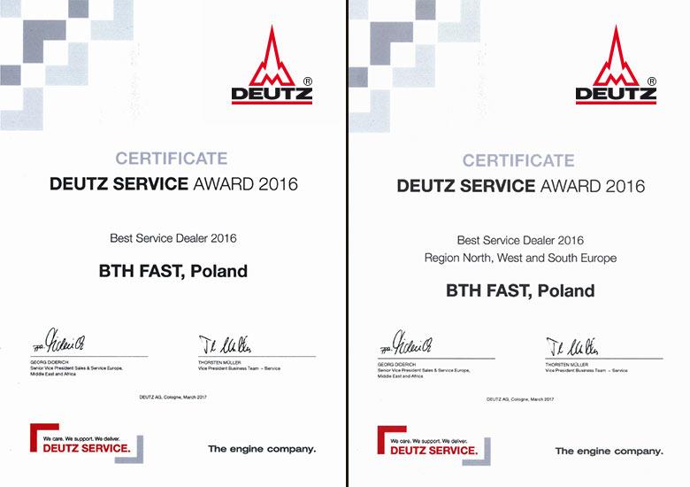 I miejsce w kategorii najlepszy serwis DEUTZ w Europie.